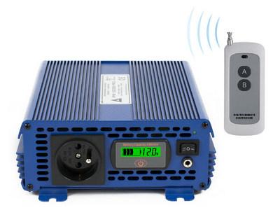 Przetwornica napięcia 12 VDC / 230 VAC ECO MODE  SINUS IPS-1000S PRO 1000W Przetwornica 12/230V o czystym przebiegu SINUSOIDY Funkcja ECO MODE - pobór prądu w trybie czuwania 0.15A, automatyczna detekcja podłączenia odbiorników o mocy większej niż 1W. Bezprzewodowy pilot sterujący.