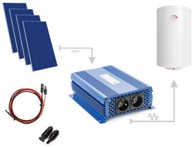 Zestaw do grzania wody w bojlerach ECO Solar Boost 1100W MPPT 4xPV Poli Solarny zestaw do grzania wody - 4 panele PV, Inwerter 3kW, złącza i okablowanie